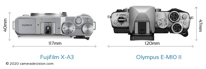 Fujifilm X-A3 vs Olympus E-M10 II Camera Size Comparison - Top View