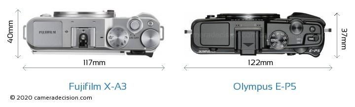 Fujifilm X-A3 vs Olympus E-P5 Camera Size Comparison - Top View