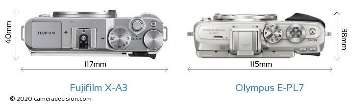 Fujifilm X-A3 vs Olympus E-PL7 Camera Size Comparison - Top View