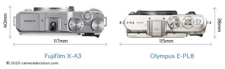 Fujifilm X-A3 vs Olympus E-PL8 Camera Size Comparison - Top View