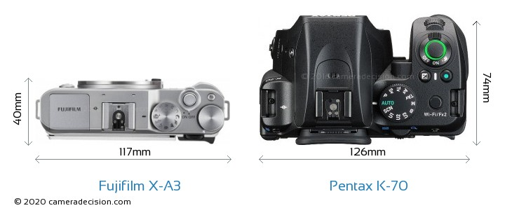 Fujifilm X-A3 vs Pentax K-70 Camera Size Comparison - Top View