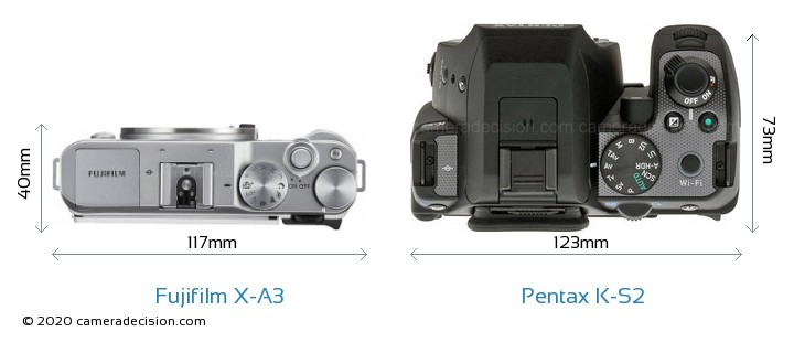 Fujifilm X-A3 vs Pentax K-S2 Camera Size Comparison - Top View