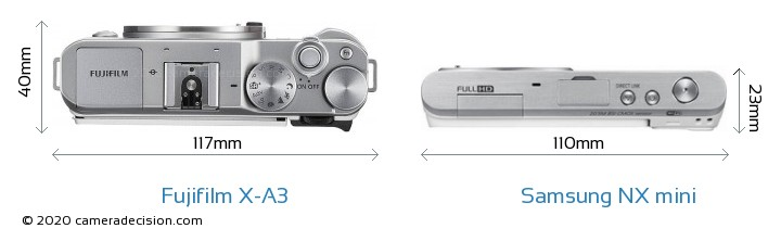 Fujifilm X-A3 vs Samsung NX mini Camera Size Comparison - Top View