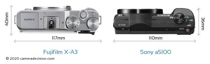Fujifilm X-A3 vs Sony a5100 Camera Size Comparison - Top View