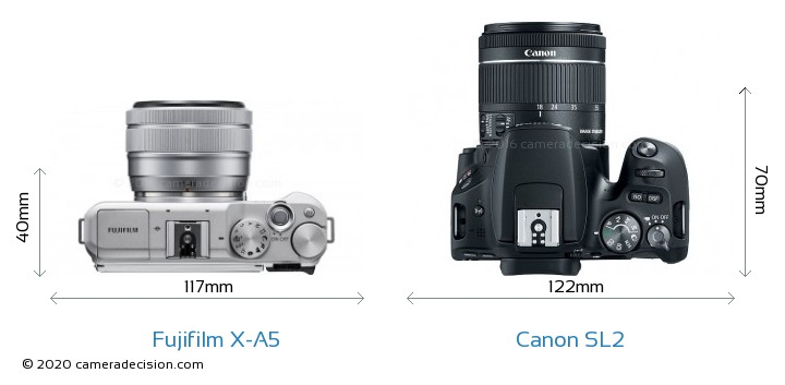 Fujifilm X-A5 vs Canon SL2 Camera Size Comparison - Top View