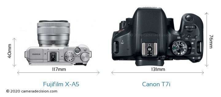 Fujifilm X-A5 vs Canon T7i Camera Size Comparison - Top View