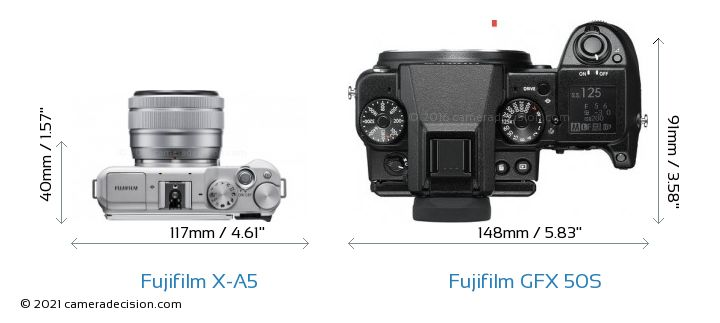 Fujifilm X-A5 vs Fujifilm GFX 50S Camera Size Comparison - Top View