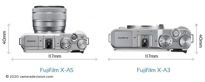 Fujifilm X-A5 vs Fujifilm X-A3 Camera Size Comparison - Top View