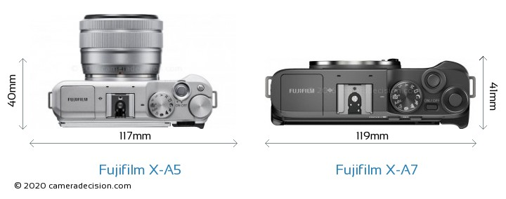 Fujifilm X-A5 vs Fujifilm X-A7 Camera Size Comparison - Top View