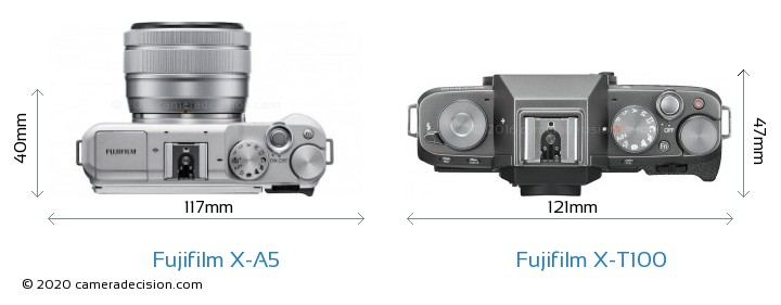 Fujifilm X-A5 vs Fujifilm X-T100 Camera Size Comparison - Top View