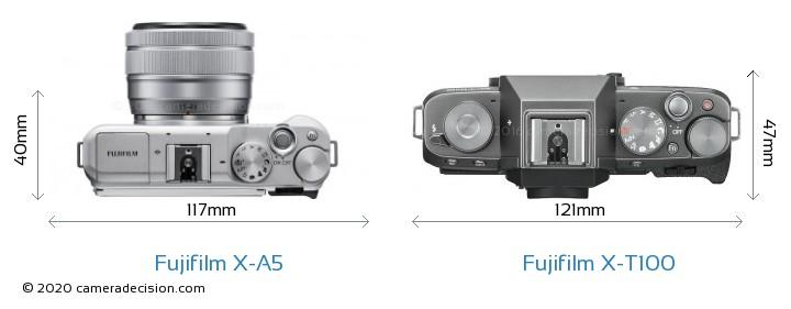 Fujifilm X-A5 vs Fujifilm X-T100 Camera Size Comparison - Top View