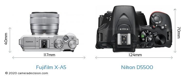 Fujifilm X-A5 vs Nikon D5500 Camera Size Comparison - Top View