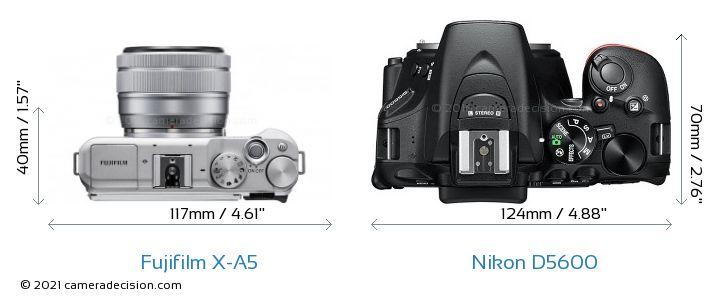 Fujifilm X-A5 vs Nikon D5600 Camera Size Comparison - Top View