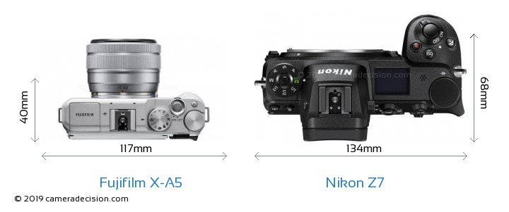 Fujifilm X-A5 vs Nikon Z7 Camera Size Comparison - Top View