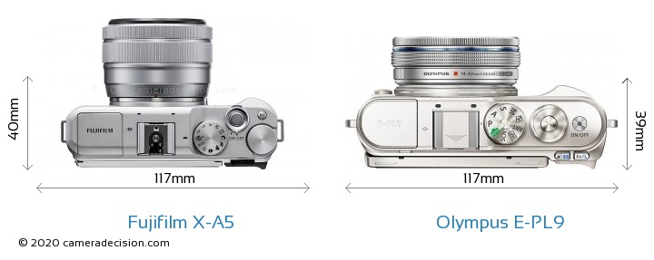 Fujifilm X-A5 vs Olympus E-PL9 Camera Size Comparison - Top View