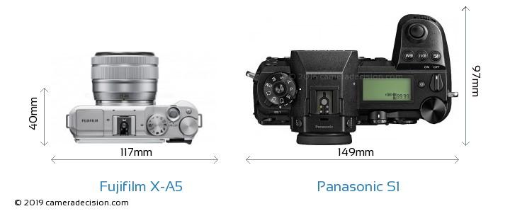Fujifilm X-A5 vs Panasonic S1 Camera Size Comparison - Top View