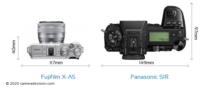 Fujifilm X-A5 vs Panasonic S1R Camera Size Comparison - Top View