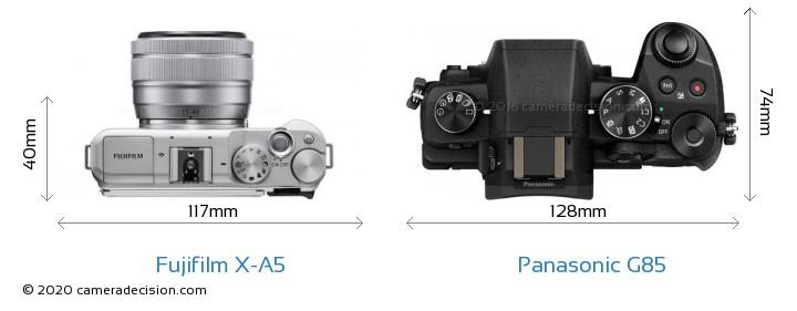 Fujifilm X-A5 vs Panasonic G85 Camera Size Comparison - Top View