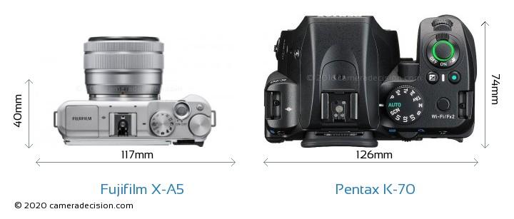 Fujifilm X-A5 vs Pentax K-70 Camera Size Comparison - Top View