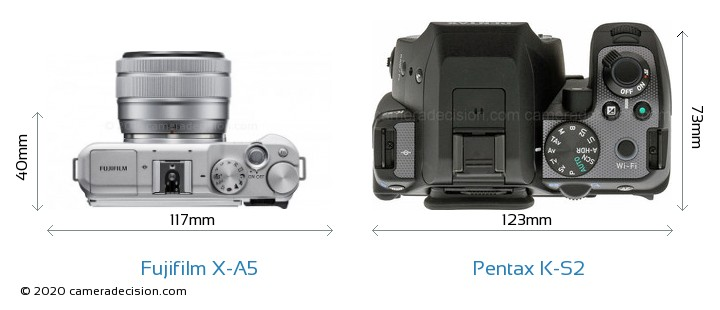 Fujifilm X-A5 vs Pentax K-S2 Camera Size Comparison - Top View