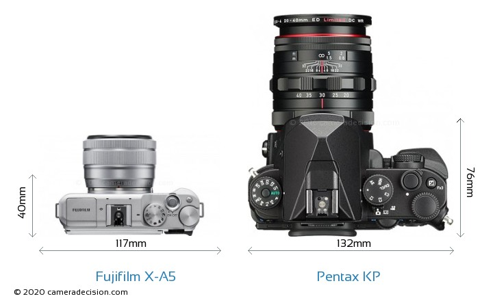 Fujifilm X-A5 vs Pentax KP Camera Size Comparison - Top View