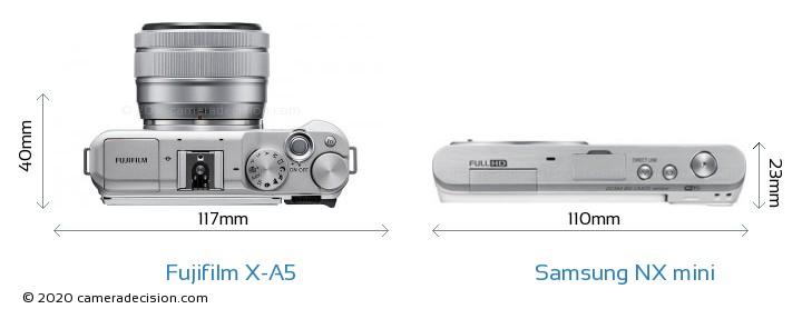 Fujifilm X-A5 vs Samsung NX mini Camera Size Comparison - Top View
