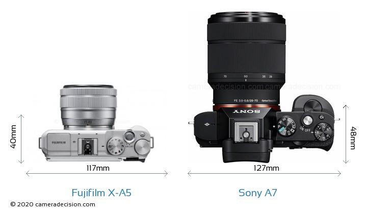 Fujifilm X-A5 vs Sony A7 Camera Size Comparison - Top View