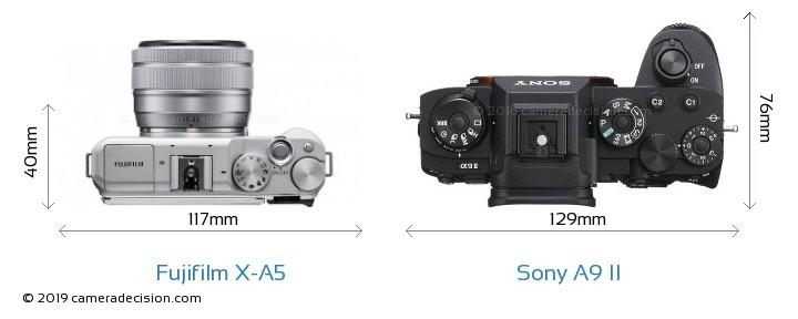 Fujifilm X-A5 vs Sony A9 II Camera Size Comparison - Top View