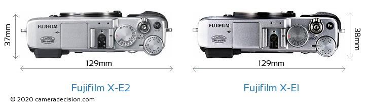 Fujifilm X-E2 vs Fujifilm X-E1 Camera Size Comparison - Top View