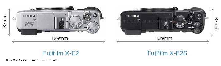 Fujifilm X-E2 vs Fujifilm X-E2S Camera Size Comparison - Top View