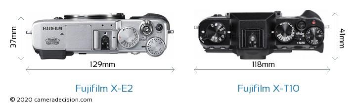 Fujifilm X-E2 vs Fujifilm X-T10 Camera Size Comparison - Top View