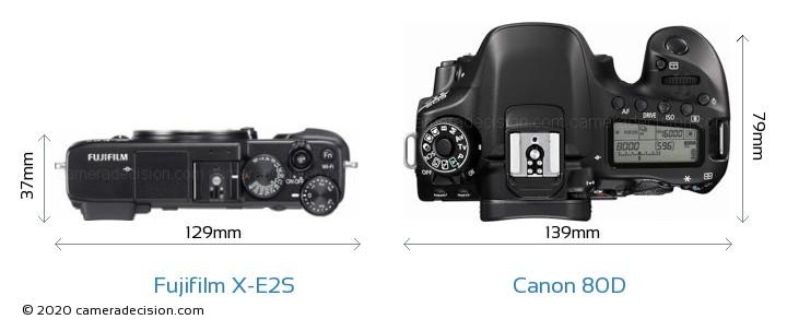 Fujifilm X-E2S vs Canon 80D Camera Size Comparison - Top View