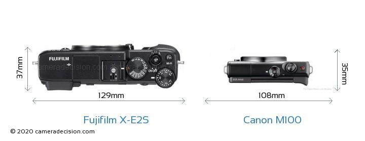 Fujifilm X-E2S vs Canon M100 Camera Size Comparison - Top View