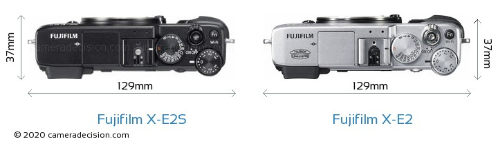 Fujifilm X-E2S vs Fujifilm X-E2 Camera Size Comparison - Top View