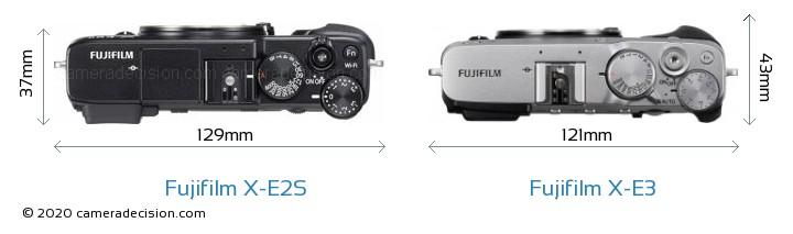 Fujifilm X-E2S vs Fujifilm X-E3 Camera Size Comparison - Top View