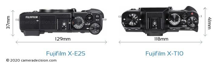 Fujifilm X-E2S vs Fujifilm X-T10 Camera Size Comparison - Top View