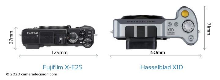 Fujifilm X-E2S vs Hasselblad X1D Camera Size Comparison - Top View