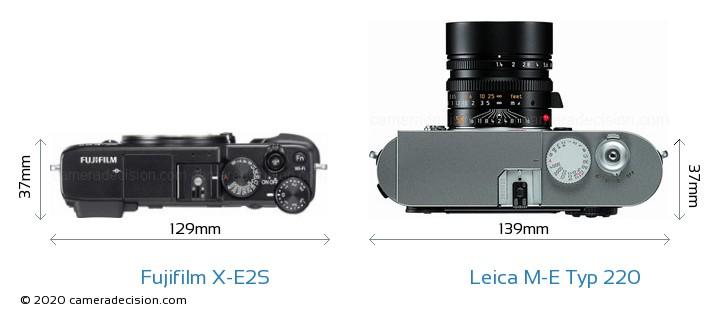 Fujifilm X-E2S vs Leica M-E Typ 220 Camera Size Comparison - Top View