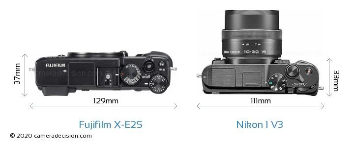 Fujifilm X-E2S vs Nikon 1 V3 Camera Size Comparison - Top View