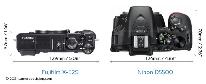 Fujifilm X-E2S vs Nikon D5500 Camera Size Comparison - Top View