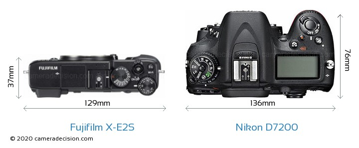 Fujifilm X-E2S vs Nikon D7200 Camera Size Comparison - Top View