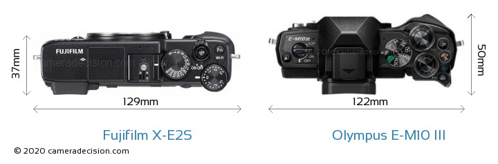 Fujifilm X-E2S vs Olympus E-M10 MIII Camera Size Comparison - Top View