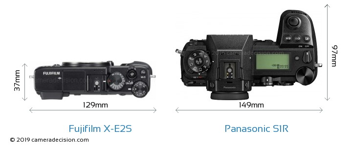 Fujifilm X-E2S vs Panasonic S1R Camera Size Comparison - Top View