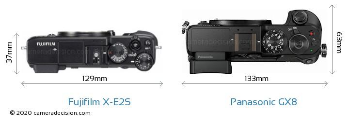 Fujifilm X-E2S vs Panasonic GX8 Camera Size Comparison - Top View