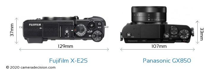 Fujifilm X-E2S vs Panasonic GX850 Camera Size Comparison - Top View