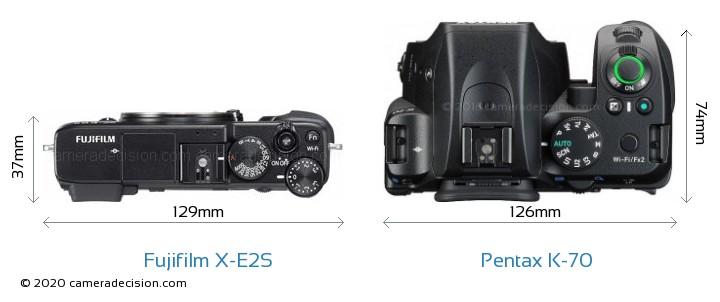 Fujifilm X-E2S vs Pentax K-70 Camera Size Comparison - Top View