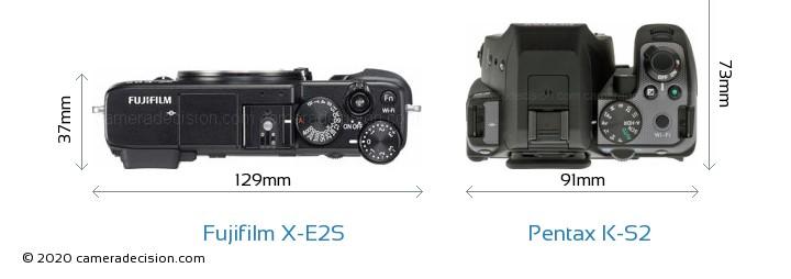 Fujifilm X-E2S vs Pentax K-S2 Camera Size Comparison - Top View