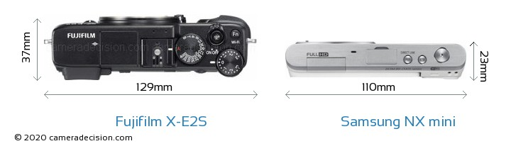 Fujifilm X-E2S vs Samsung NX mini Camera Size Comparison - Top View