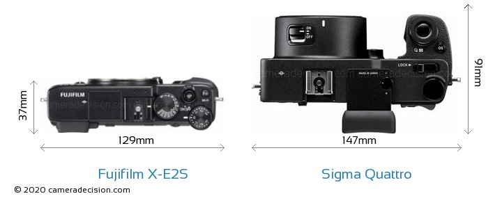 Fujifilm X-E2S vs Sigma Quattro Camera Size Comparison - Top View
