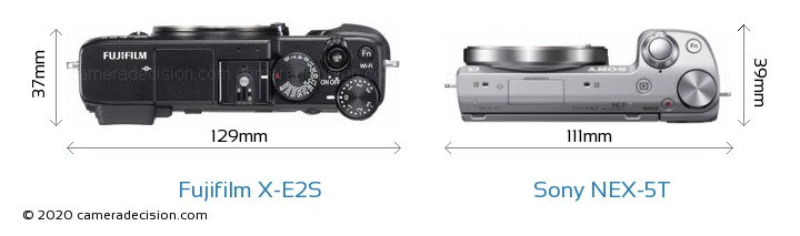 Fujifilm X-E2S vs Sony NEX-5T Camera Size Comparison - Top View